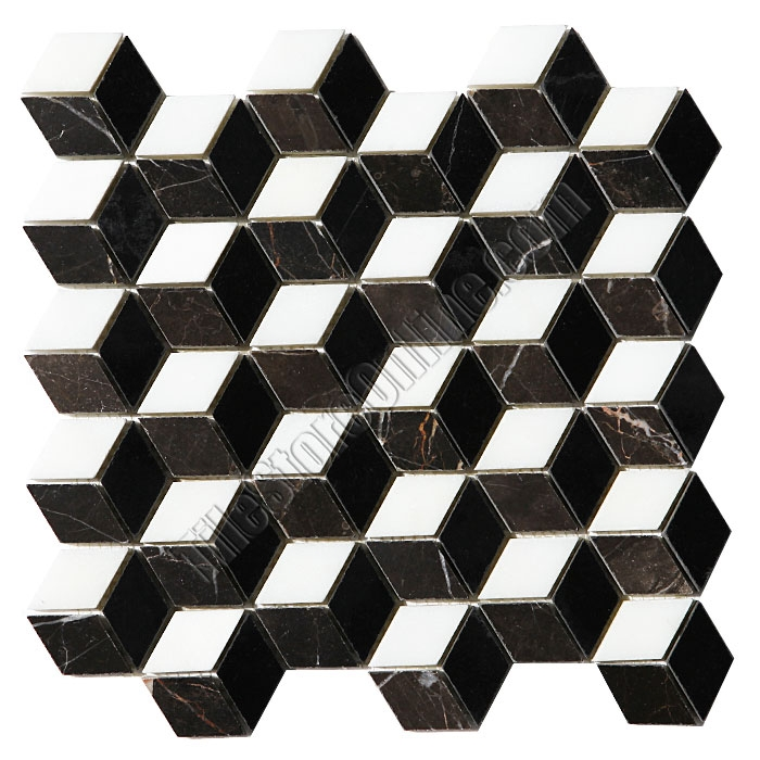 Illusion Marble Mosaic Tile Step Cube Pattern With Black White And Brown Polished
