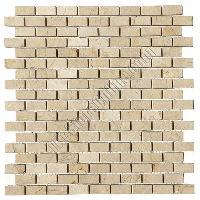 Marble Mosaic Tile 5 8 X 1 4 Crema Marfil Mini Brick Subway Polished