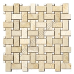 Basketweave Marble Mosaic Tile - Crema Marfil Basket Weave with White Marble Dot Mosaic - Polished