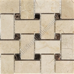 Basketweave Marble Mosaic Tile - Crema Marfil Basket Weave with Emperador Dark Brown Marble Dot Mosaic - Polished