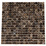 Marble Mosaic Tile - 5/8 X 5/8 Emperador Dark Marble Mini Square Mosaic - Polished