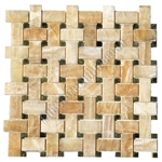 Onyx Basketweave Mosaic Tile - Honey Onyx Basket Weave with Green Marble Dot Mosaic - Polished
