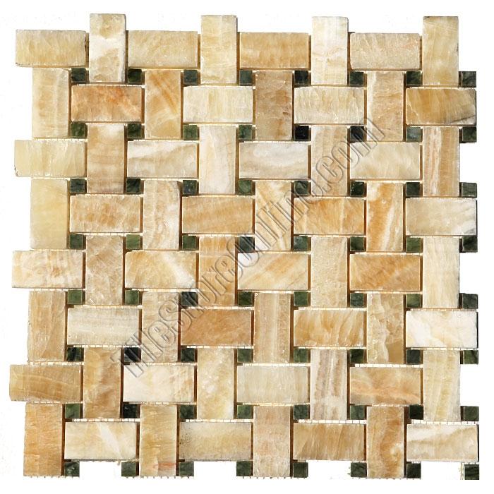 Onyx Basketweave Mosaic Tile Honey Basket Weave With Green Marble Dot Polished