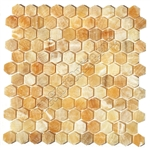 Onyx Hexagon Mosaic Tile - Honey Onyx Hexagon Mosaic - Polished