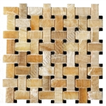 Onyx Basketweave Mosaic Tile - Honey Onyx Basket Weave with Black Marble Dot Mosaic - Polished