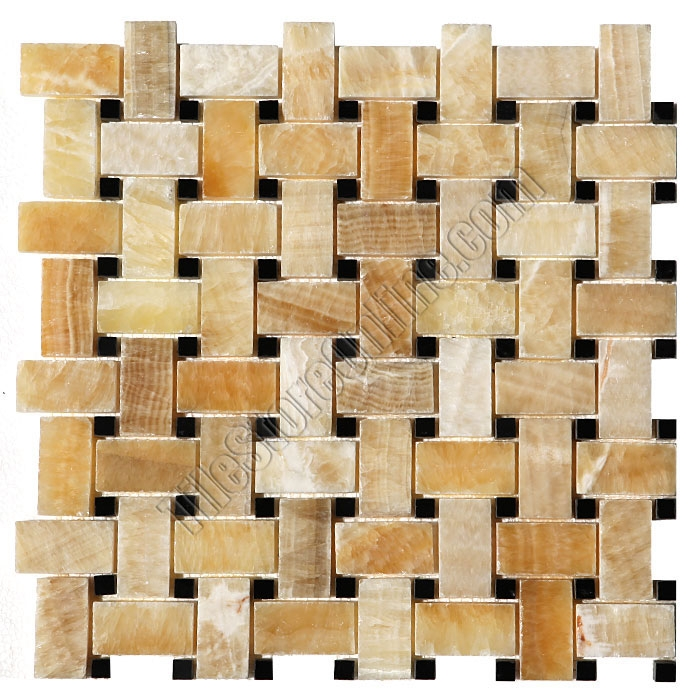 Onyx Basketweave Mosaic Tile Honey Basket Weave With Black Marble Dot Polished