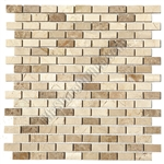 Marble Mosaic Tile - 5/8 X 1 1/4 Crema Marfil & Emperador Light Marble Mini Brick Subway Mosaic - Polished