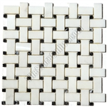 Basketweave Marble Mosaic Tile - China White Basket Weave with Black Marble Dot Mosaic - Polished