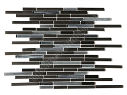 Glass and Metal Tile Strip Stick Mosaic - Random Length Glossy and Frosted Glass Sticks with Black Stainless Steel Metal Strips Mosaic - HB-YGG009-2
