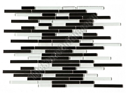 Glass and Metal Tile Strip Stick Mosaic - Random Length Glossy and Frosted Glass Sticks with Black Stainless Steel Metal Strips Mosaic - HB-YGG009-4 Black Stainless Blend