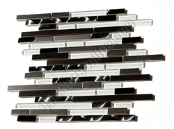 Glass Tile and Metal Tile Mosaic - Random Length Glossy Glass Tile and Stainless Steel Metal Tile Mosaic - HB-YGG019-1 Silver and Black Stainless Blend