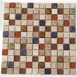 Elysium - Maple - 1 X 1 Glass & Stone Mosaic Tile - ODD LOT SUPER DEAL