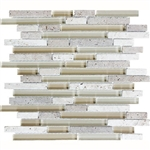 Eclipse Dunes Linear Glass and Stone Mosaic Tile - Strip Sticks of Travertine and Glossy Glass Tile