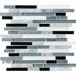 Eclipse Vintage Linear Glass and Stone Mosaic Tile - Strip Sticks of White & Gray Marble and Glossy Glass Tile