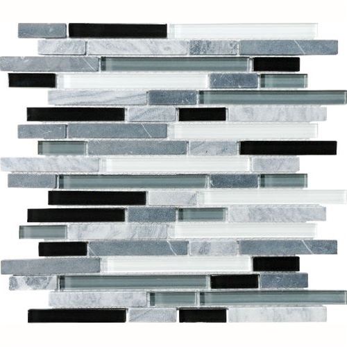 Eclipse Vintage Linear Gl And Stone Mosaic Tile Strip Sticks Of White Gray Marble Glossy