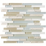 Eclipse Tranquility Linear Glass and Stone Mosaic Tile - Strip Sticks of Travertine, and Glossy Glass Tile