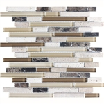 Eclipse Espresso Linear Glass and Stone Mosaic Tile - Strip Sticks of Emperador Dark Marble, Travertine, and Glossy Glass Tile