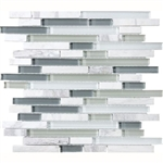 Eclipse Eternity Linear Glass and Stone Mosaic Tile - Strip Sticks of Natural Stone and Glossy Glass Tile