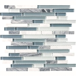 Eclipse Marina Linear Glass and Stone Mosaic Tile - Strip Sticks of White & Gray Marble and Glossy Glass Tile