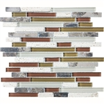 Eclipse Merlot Linear Glass and Stone Mosaic Tile - Strip Sticks of Emperador Dark Marble, Travertine, and Glossy Glass Tile