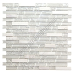 Crackle Glass Tile and Tumbled Marble Linear Mosaic - 5/8 X Linear Strips Sticks of Crackled Glossy and Frosted Glass and Marble Mosaic - GML301 Ice White Blend