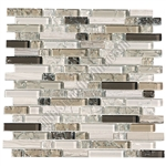 Crackle Glass Tile and Marble Linear Mosaic - 5/8 X Linear Strips Sticks of Crackled Glossy Glass and Marble Mosaic - GML302 Taupe Blend