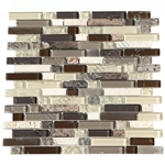 Crackle Glass Tile and Marble Linear Mosaic - 5/8 X Linear Strips Sticks of Crackled Glossy Glass and Marble Mosaic - GML303 Earth Blend