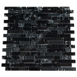 Crackle Glass Tile and Marble Linear Mosaic - 5/8 X Linear Strips Sticks of Crackled Glossy Glass and Marble Mosaic - GML304 Black Blend