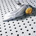 American Olean Satinglo - White / Black Hexagon Pattern - 1 inch Hexagon Glazed Porcelain Tile