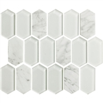 "American Olean Entourage Alair - AL14 Cotton - 2"" X 4"" Long Hexagon Glass & Stone Mosaic Tile"