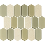 "American Olean Entourage Alair - AL15 Honey - 2"" X 4"" Long Hexagon Glass & Stone Mosaic Tile"