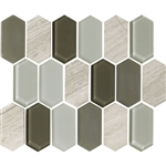 "American Olean Entourage Alair - AL16 Dove - 2"" X 4"" Long Hexagon Glass & Stone Mosaic Tile"
