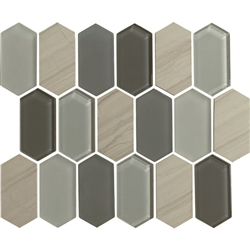 "American Olean Entourage Alair - AL17 Slate - 2"" X 4"" Long Hexagon Glass & Stone Mosaic Tile"