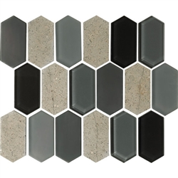 "American Olean Entourage Alair - AL18 Smoke - 2"" X 4"" Long Hexagon Glass & Stone Mosaic Tile"