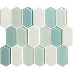 "American Olean Entourage Alair - AL19 Mint - 2"" X 4"" Long Hexagon Glass & Stone Mosaic Tile"