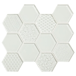 American Olean Color Appeal Entourage Felicity Hexagon Glass - C101 Pearl - Glass Tile Mosaic - Sample