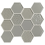 American Olean Color Appeal Entourage Felicity Hexagon Glass - C102 Silver Cloud - Glass Tile Mosaic