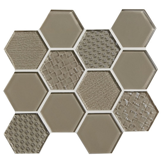 American Olean Color Eal Entourage Felicity Hexagon Gl C105 Plaza Taupe Tile Mosaic