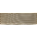 American Olean Color Appeal Entourage Abstracts Glass - C105 Plaza Taupe - 4X12 Wavy Subway Glass Tile Plank - Glossy - Sample