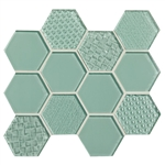 American Olean Color Appeal Entourage Felicity Hexagon Glass - C107 Vintage Mint - Glass Tile Mosaic
