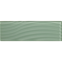 American Olean Color Appeal Entourage Abstracts Glass - C107 Vintage Mint - 4X12 Wavy Subway Glass Tile Plank - Glossy