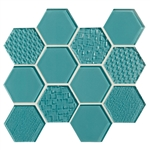 American Olean Color Appeal Entourage Felicity Hexagon Glass - C108 Fountain Blue - Glass Tile Mosaic