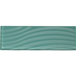 American Olean Color Appeal Entourage Abstracts Glass - C108 Fountain Blue - 4X12 Wavy Subway Glass Tile Plank - Glossy - Sample