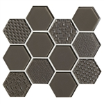 American Olean Color Appeal Entourage Felicity Hexagon Glass - C119 Mink - Glass Tile Mosaic