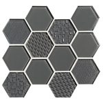 American Olean Color Appeal Entourage Felicity Hexagon Glass - C121 Charcoal Gray - Glass Tile Mosaic