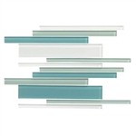 American Olean Color Appeal Glass Blends - C128 Sea Pearl Blend - Random Interlocking Linear Glass Tile Mosaic - Glossy