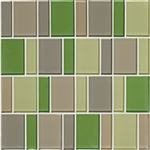 "American Olean Color Appeal Renewal Entourage - 3"" Block - C129 Willow Brook Blend - Glass Mosaic Tile"