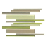 American Olean Color Appeal Glass Blends - C129 Willow Brook Blend - Random Interlocking Linear Glass Tile Mosaic - Glossy