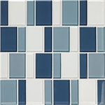 "American Olean Color Appeal Renewal Entourage - 3"" Block - C130 Blue Moon Blend - Glass Mosaic Tile"