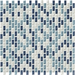 American Olean Color Appeal Renewal Entourage - Chain Link - C130 Blue Moon Blend - Micro Brick Glass Mosaic Tile